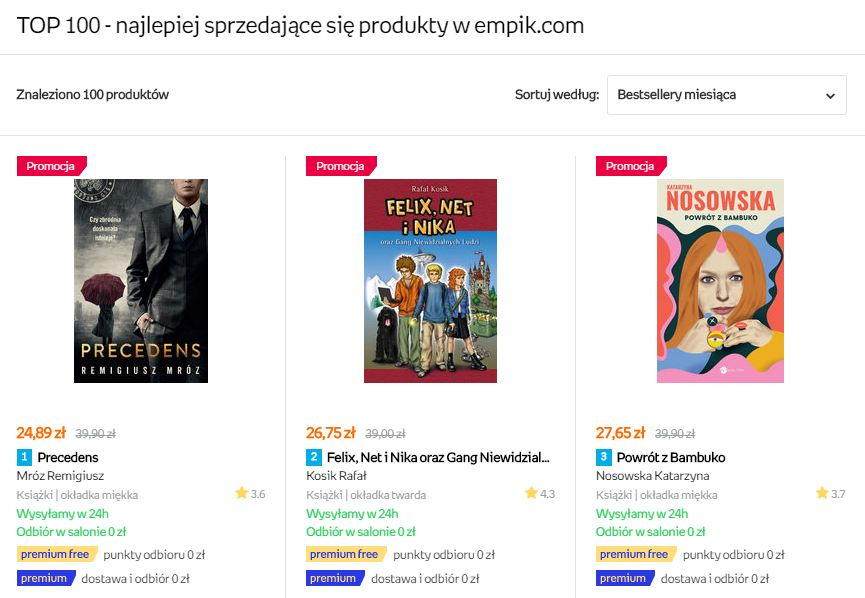 rekomendacje empik bestsellery