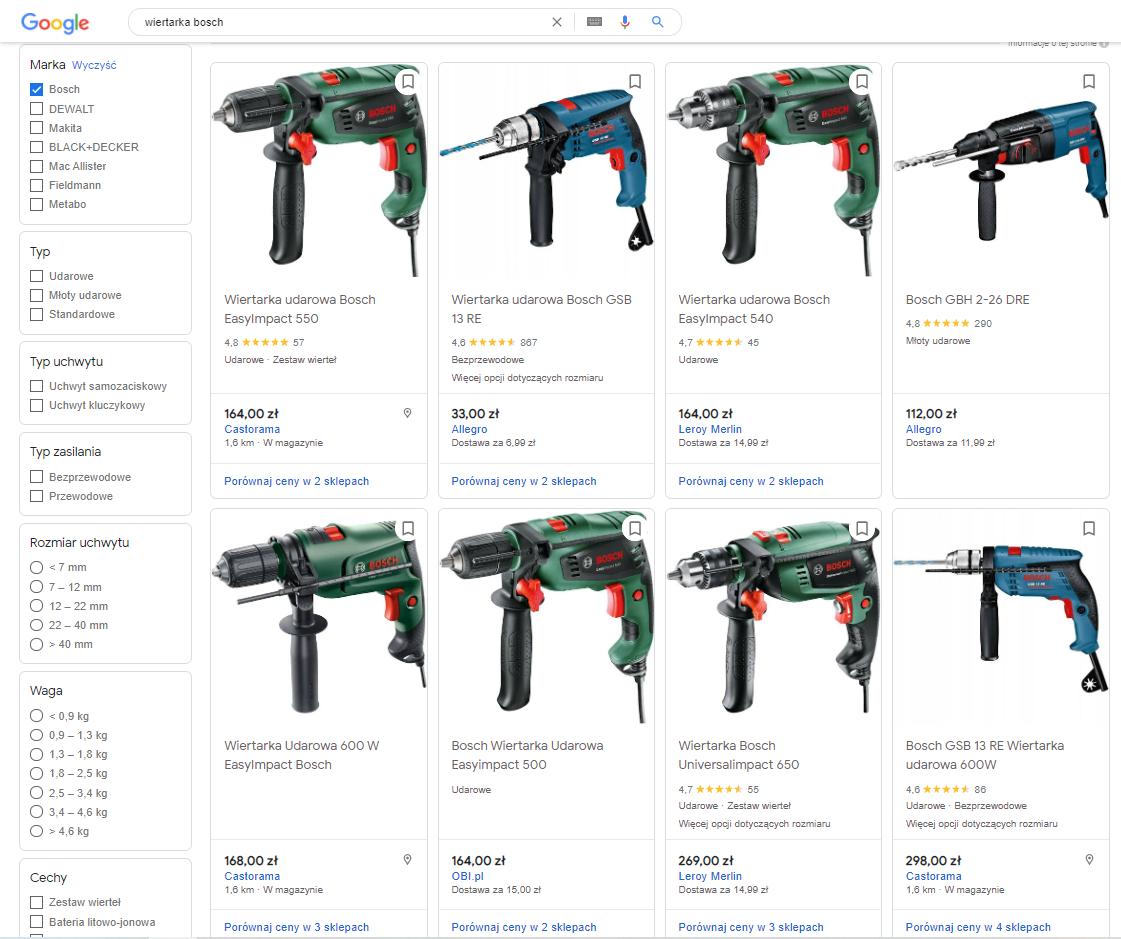 google shopping ceny